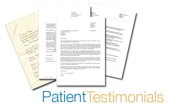 Dental Implants Testimonials from patients at the Scott Arms Dental Practice in Birmingham