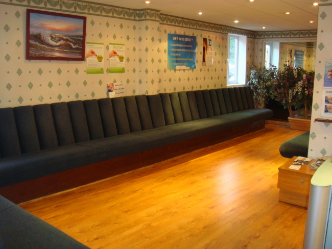 The upstairs waiting area of the Scott Arms Dental Practice and Dental Implant Centre in Birmingham